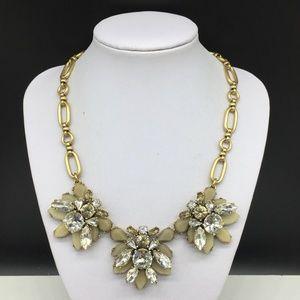 J CREW Clear Tan Beige Rhinestone Gold Necklace